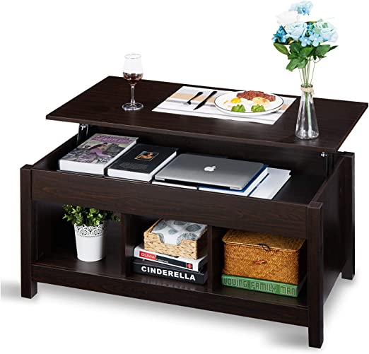 Lift Top Coffee Table Dining Table For Living Home Display With Hidden Storage Compartment Storage Space And Lift Tabletop Walnut Itaar Espresso