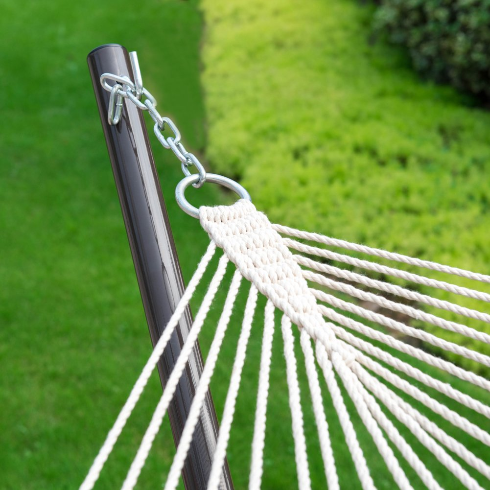 Brown//White Stripe Quilted Polyester Pad and Pillow Lazy Daze Hammocks 12 Feet Steel Stand with Rope Hammock Combo