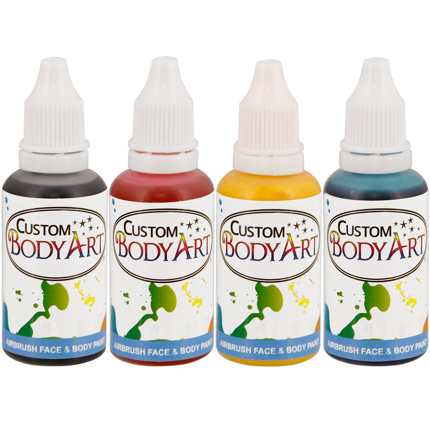 4 Color Custom Body Art Water-Based Airbrush Face and Body Paint Make-Up Kit ...