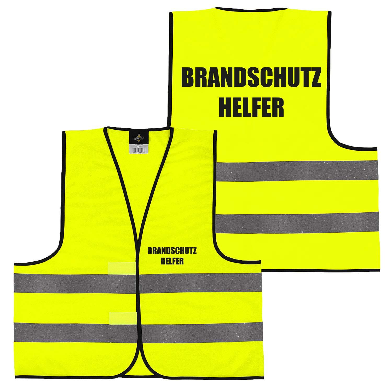 Gelb Security gro/ße Auswahl Motive Aufdrucke 019 Brandschutzhelfer XXL Warnweste Gelb Orange beidseitig bedruckt auf Brust und R/ücken mit Ordner