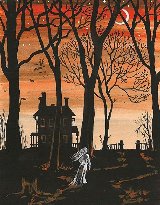 PRINT OF PAINTING 11X14 HALLOWEEN GHOST SPIRIT PARANORMAL ART ENTITY GHOUL SCARY