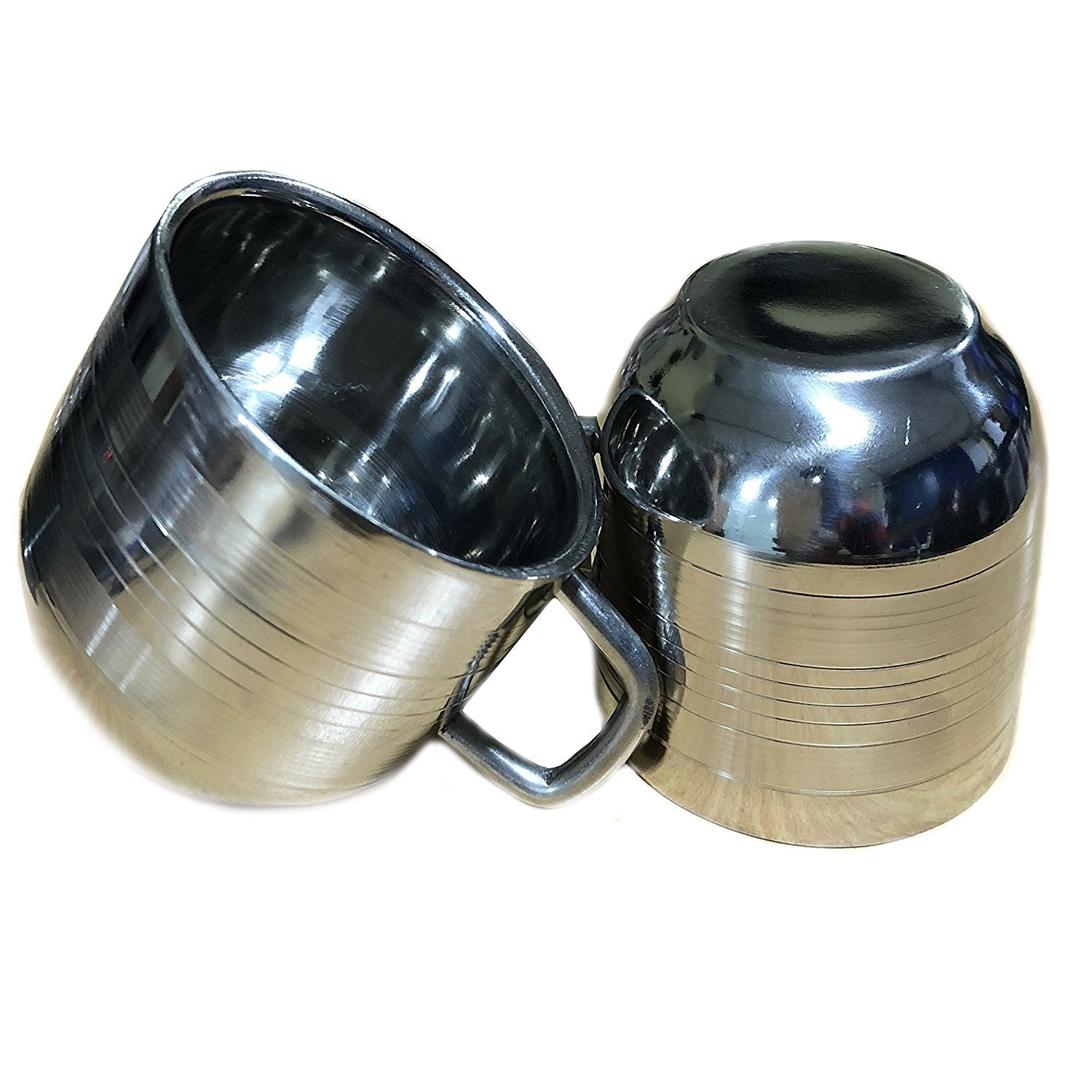 Set Of 2 Stainless Steel Drinking Cups for Kids,Tea & Coffee Cups, Silver Color Size 2.9 X 2.9 Inch