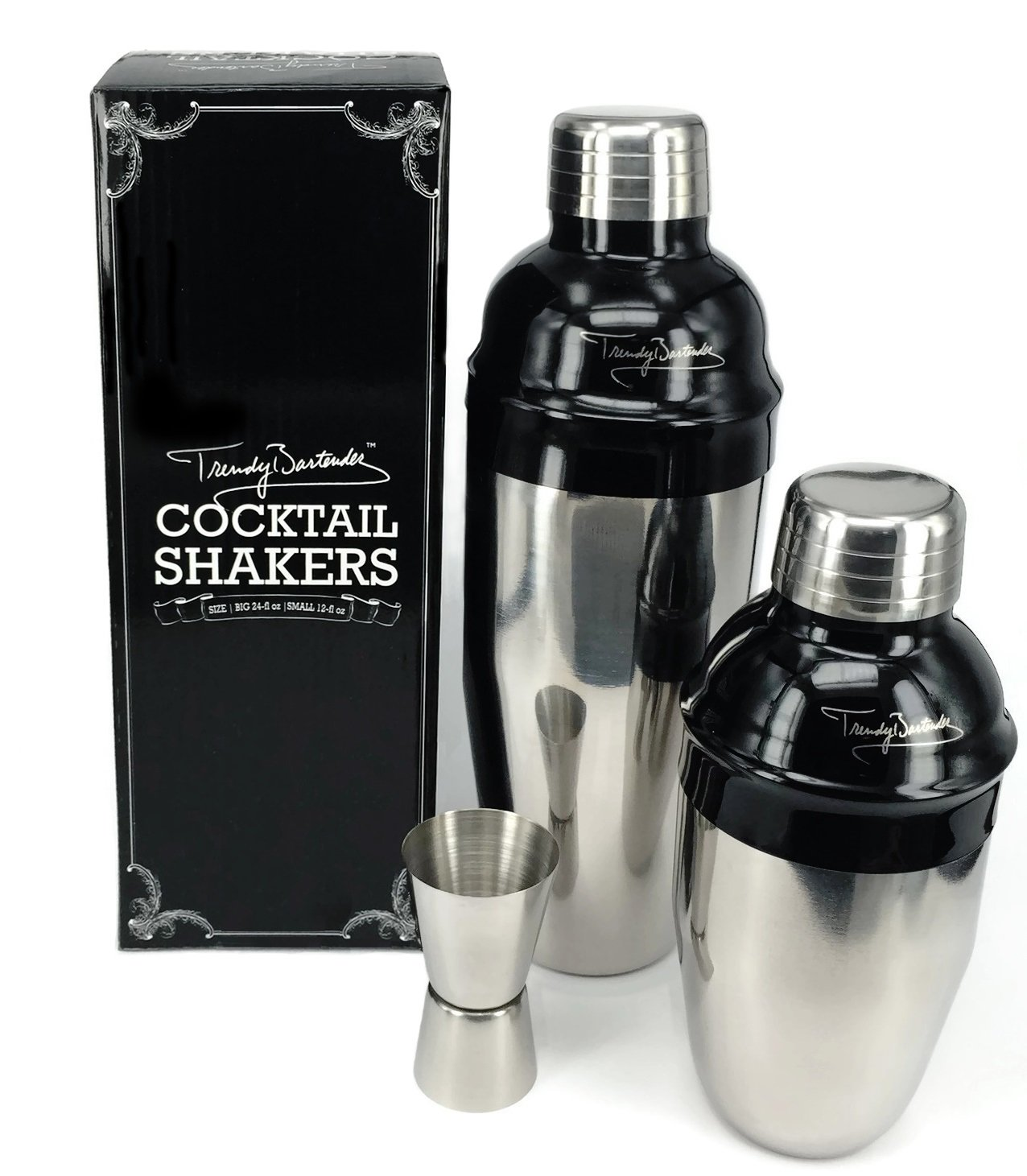 Premium Cocktail Shaker Set – 2 Professional Stainless Steel Martini Shakers (12 Ounce and 24 Ounce) – Built-In Strainer – Double Jigger Included – Bonus Cocktail Recipe eBook (Semi-Black)