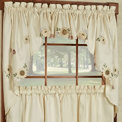 Anzy Sunflower Cream Embroidered Kitchen Curtains   Tiers Valance Or Swag  (Swags)