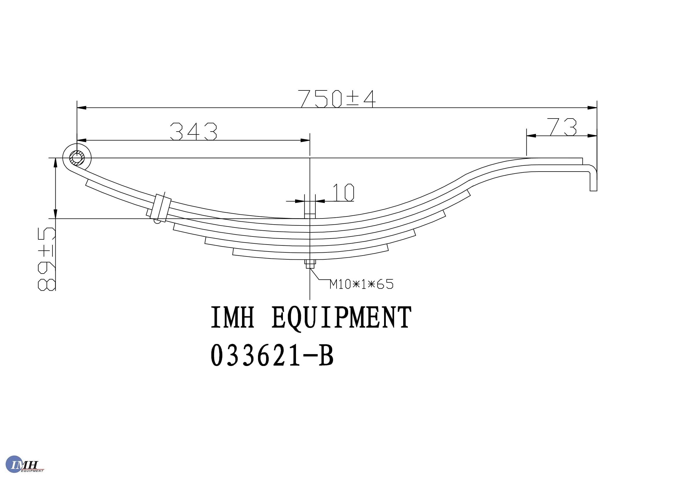 Trailer Leaf Spring- Slipper 6 Leaf, 4000lbs Capacity for 8000 Lbs Axles by IMH Equipment