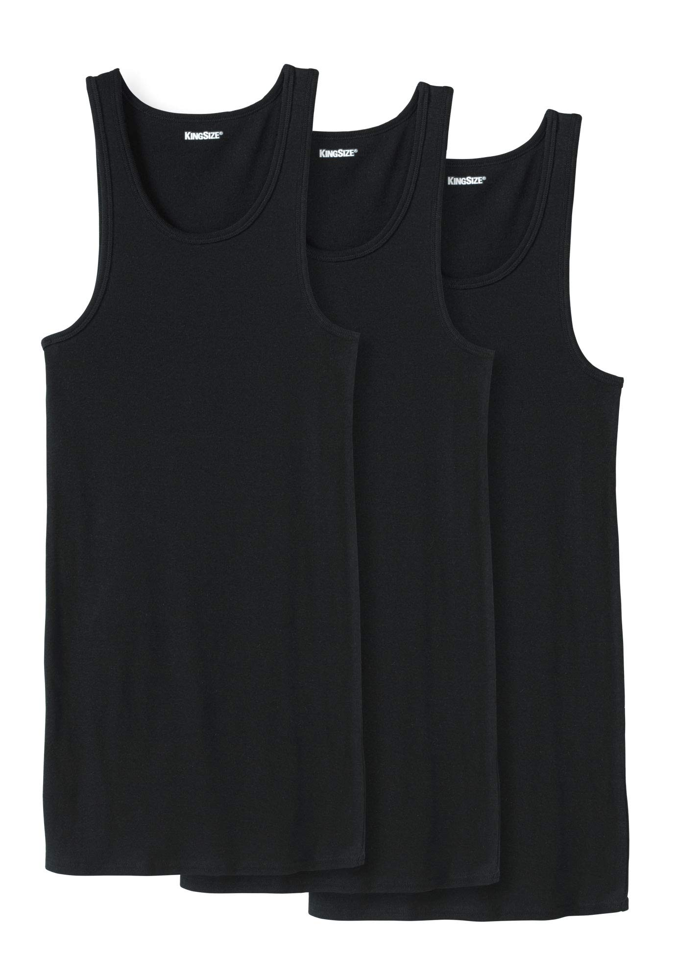 KingSize Men's Big & Tall Cotton Tank Undershirt 3-Pack, Black Tall-XL