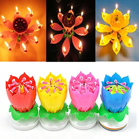 SYF 4 Pack Romantic Happy Birthday Music Play Lotus Candle Magic Musical Flower Special For Color Amazoncouk Lighting