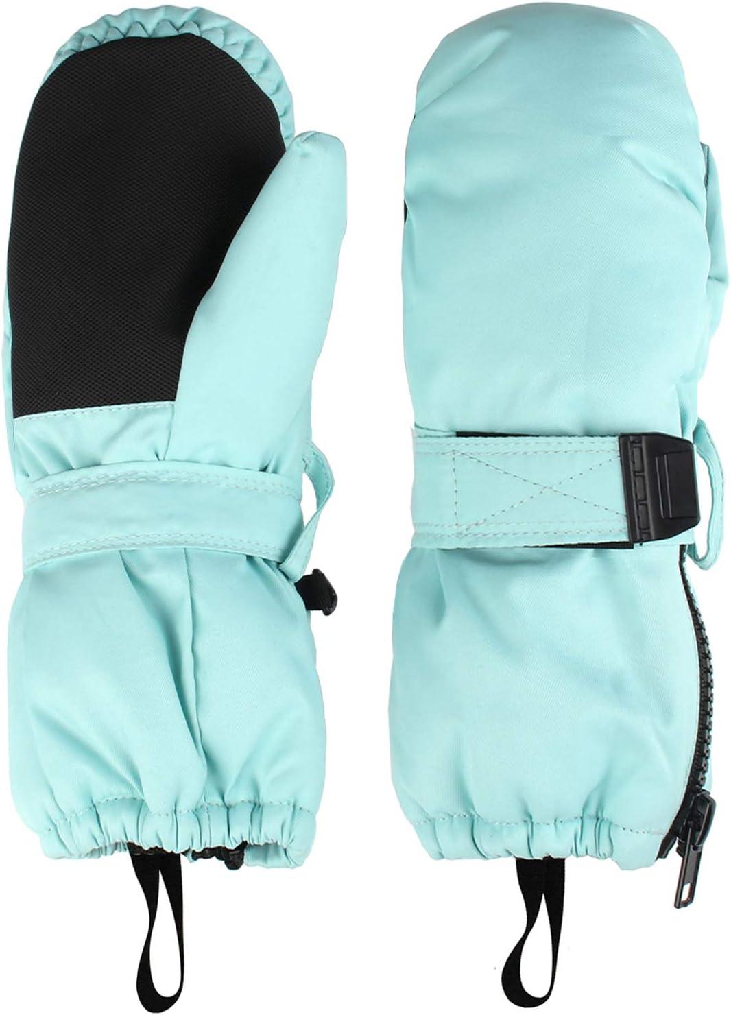 , Dinosaur M HIGHCAMP Kids Superstar Winter Mittens Waterproof Toddlers Easy On Zip Gloves 5-7Y