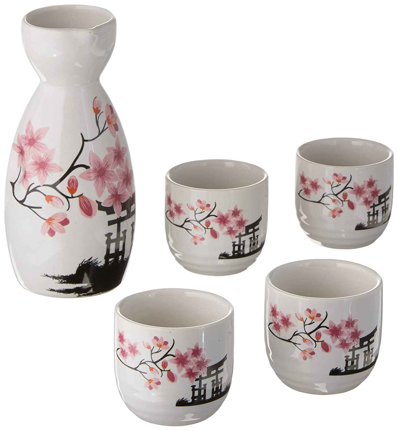Japanese Sake Set, 5 Pieces Sake Set Hand Painted Design Porcelain Pottery Traditional Ceramic Cups Crafts Wine Glasses (Pink) Pink Sake