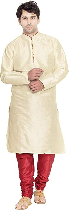 f6af12c35855 Indian Kurta Pajama Men Long Sleeve Shirt Pyjama Set Ethnic Wear Wedding  Outfit -M Beige