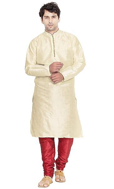 e4a60569 SKAVIJ Men's Art Silk Kurta Pajama Set Party Dress (Beige, Medium)