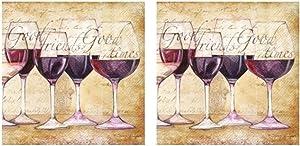 Vino Bellisimo Red Wine Good Friends 3-Ply Paper Cocktail Napkins 40-Count, Vineyard Barware Beverage Bundle