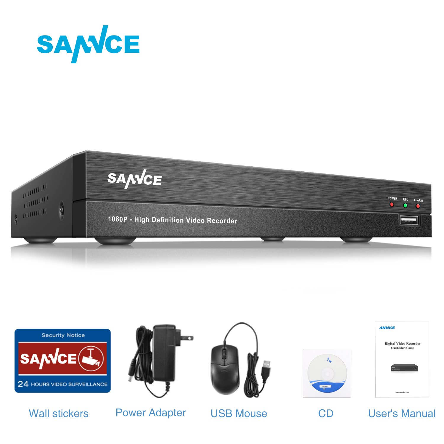 SANNCE 8 Channel 1080P Security DVR Recorder, TVI/CVI/IP/CVBS/AHD 5 in 1 CCTV DVR for Security Camera System - NO HDD