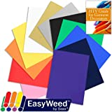 100% Authentic SISER EasyWeed Heat Transfer Vinyl Sample Pack, 12 Inch x 15 Inch Top 12-Color Assorted BUNDLE with Heat Transfer Garment Guide