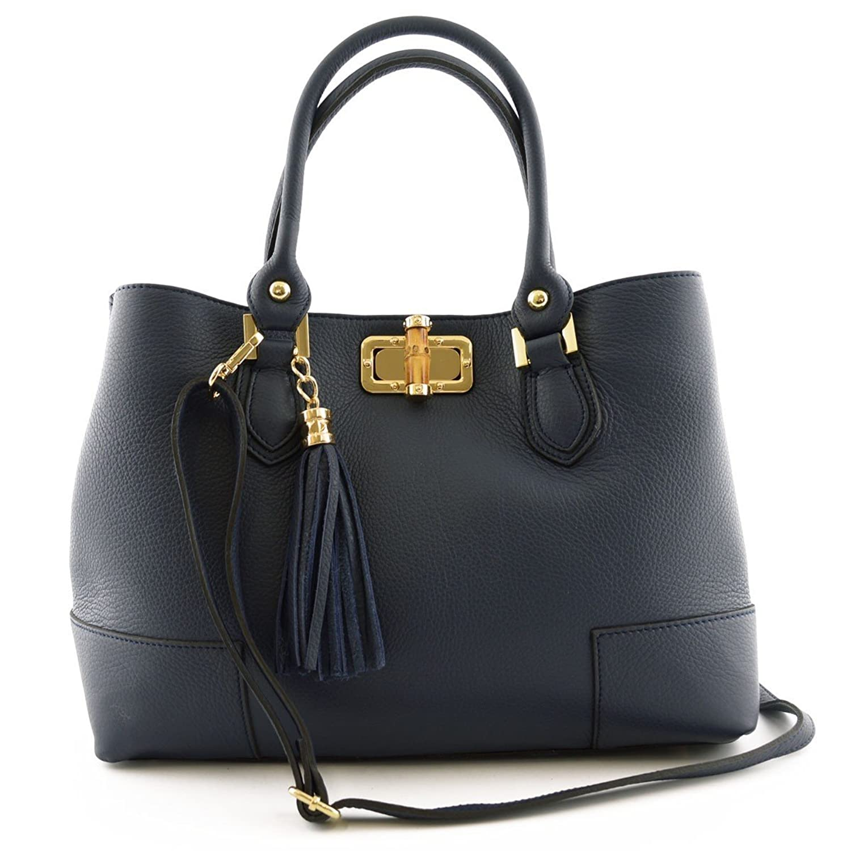 Woman Handbag With Leather Tassel Color Blue