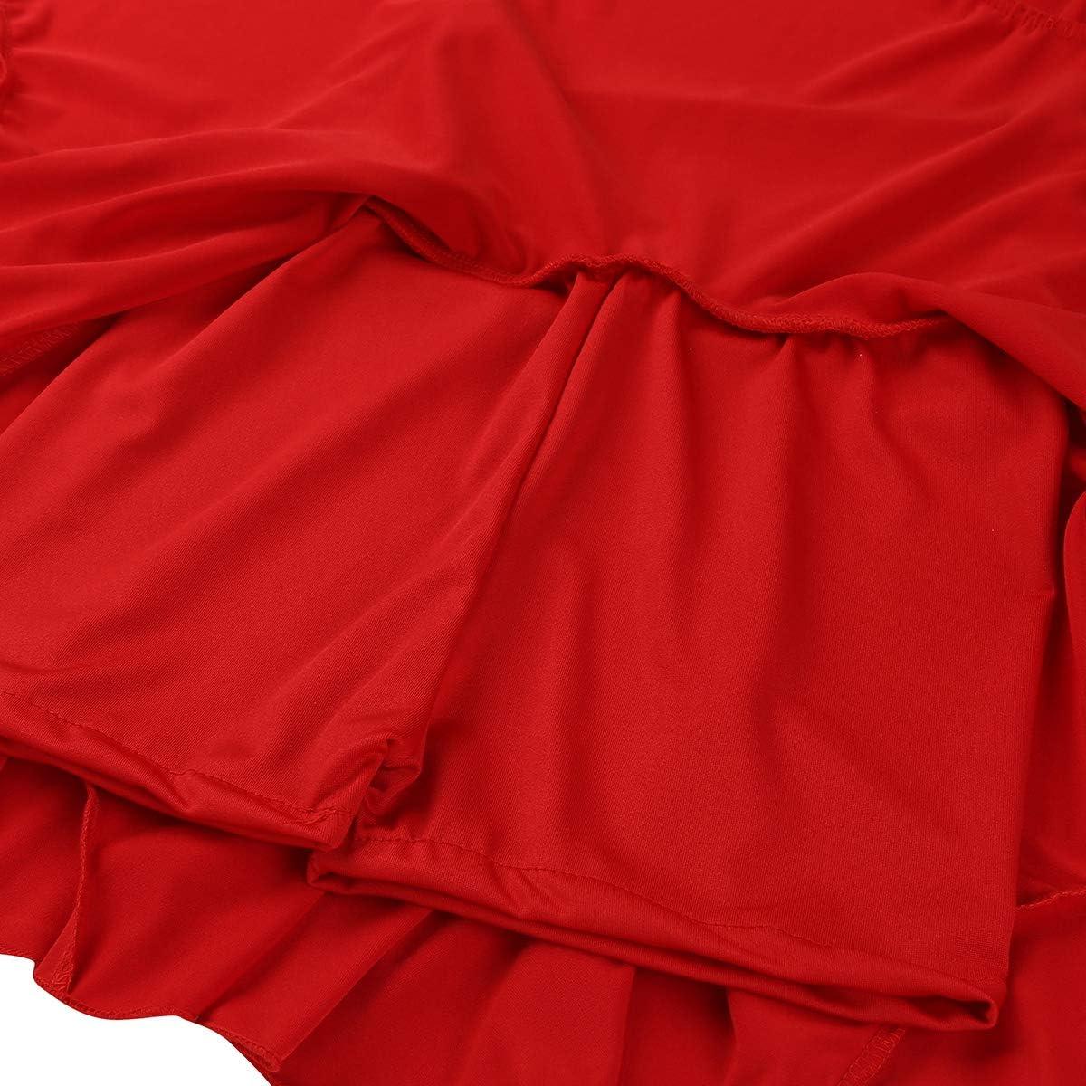 ranrann Falda de Baile Latino para Mujer Falda Corta de Danza Tango Rumba con Volantes Cintura Alta Vestido de Danza Moderna Culottes Dancewear