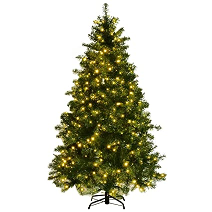 goplus pre lit christmas tree artificial pvc spruce hinged with 560 led lights and solid - Artificial Pre Lit Christmas Trees