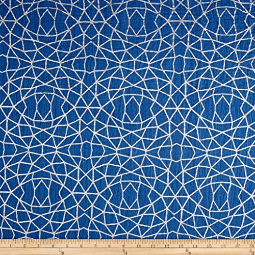 Shannon Fabrics Shannon Embrace Double Gauze Geo Lines Metallic Tile Blue/Silver Fabric By The Yard