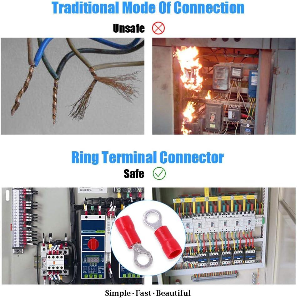 Glarks 100pcs 22-16 Gauge M4 Ring Electrical Insulated Quick Splice Crimp Terminals Connectors