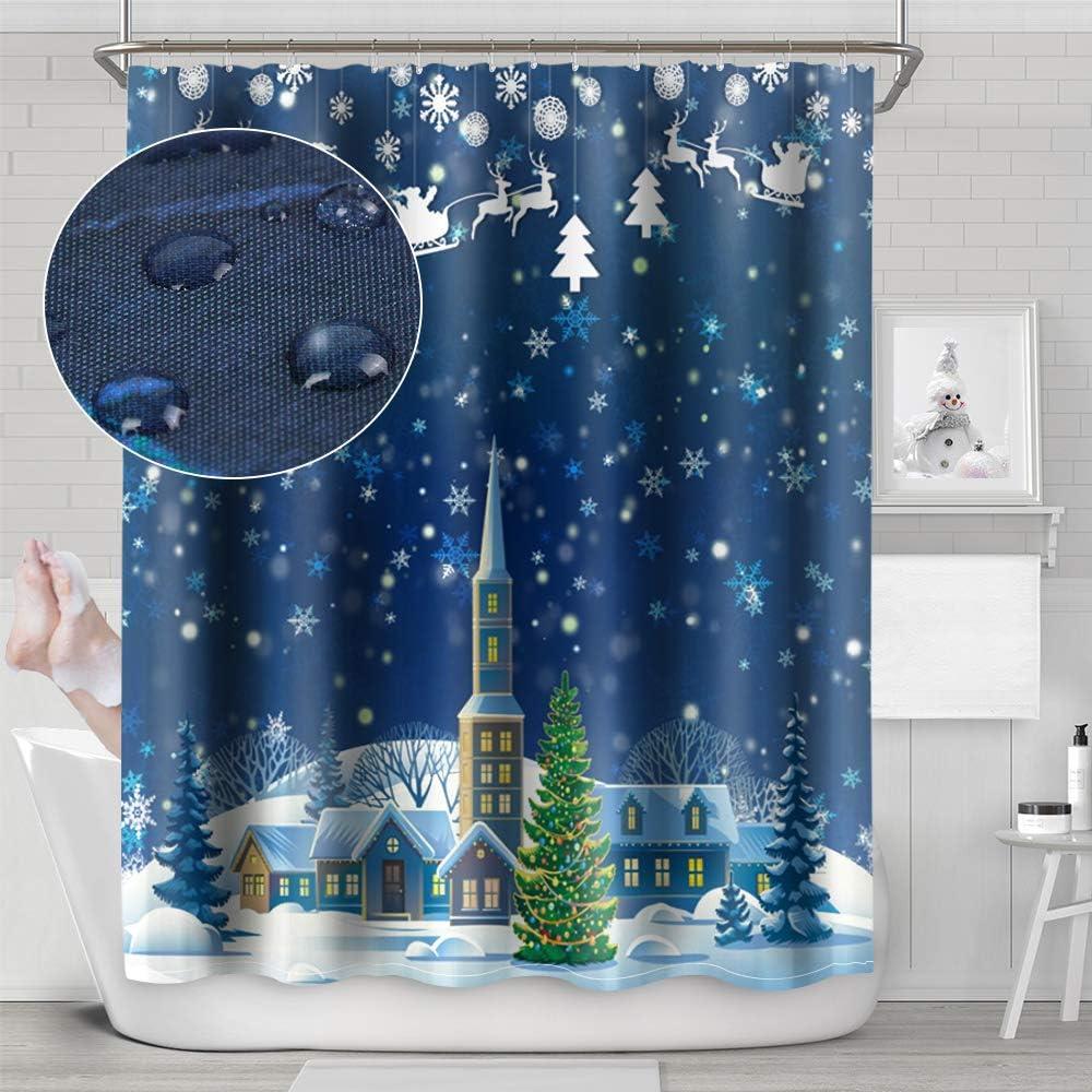 180//200cm Shower Curtain Polyester Waterproof Fabric Waterfall XMAS Snow Scene W