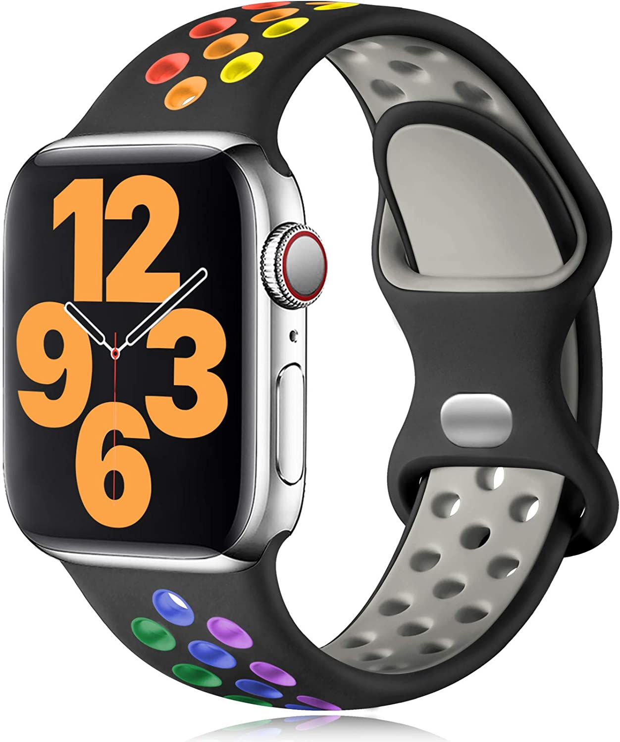 Vcegari Sports Bands Compatible with Apple Watch 40mm Women, iWatch 38mm Band Womens, Durable Breathable Silicone Strap for iWatch Series 6 5 4 3 2 1, Black/Rainbow S/M