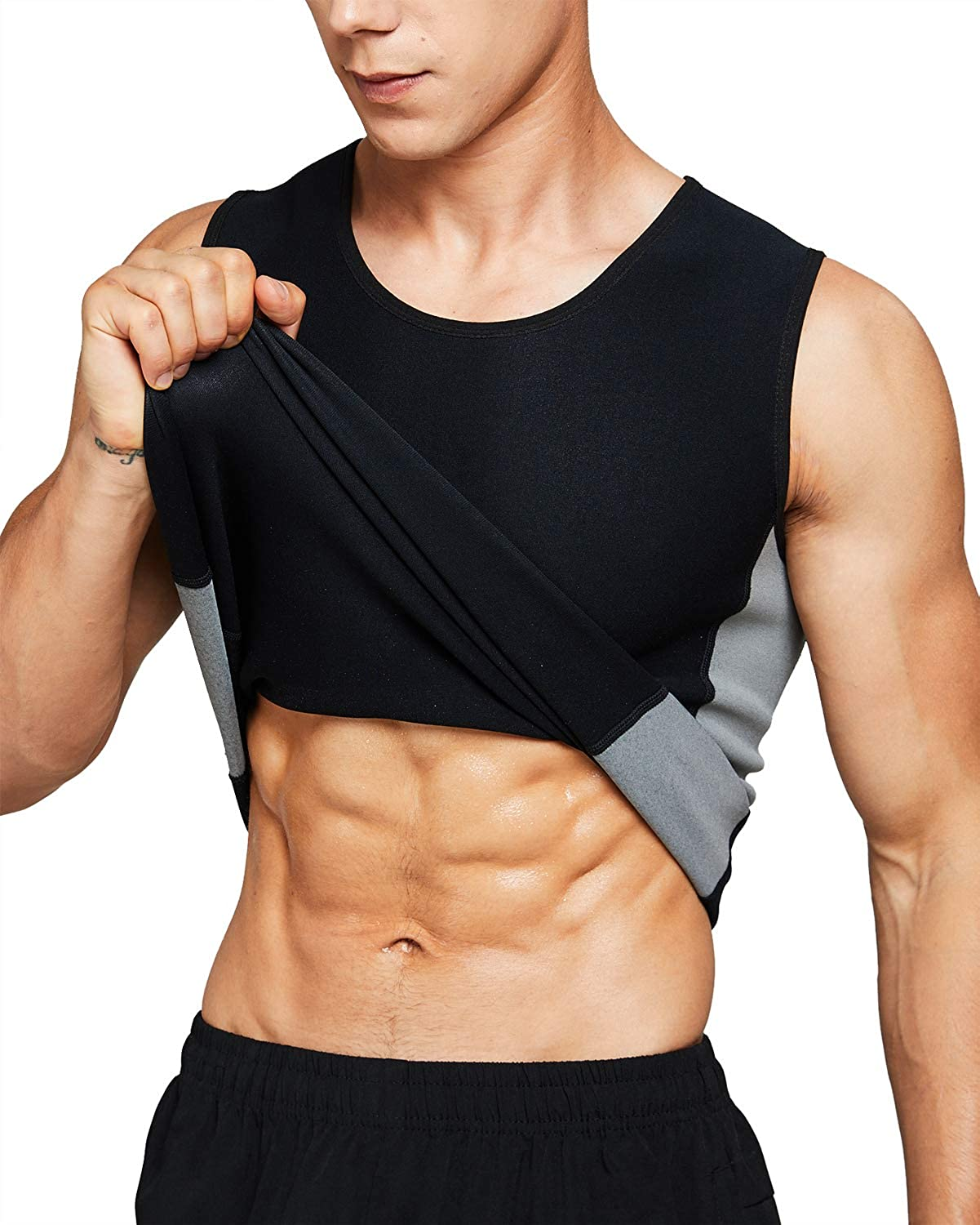 Roseate Men's Body Shaper Hot Sweat Workout Tank Top Slimming Sauna Vest Neoprene Compression Thermal Shirt: Clothing