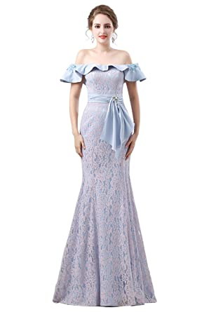 Zechun Womens Mermaid Off Shoulder Falbala Pink Lace Long Prom Dress Evening Gown Blue US2