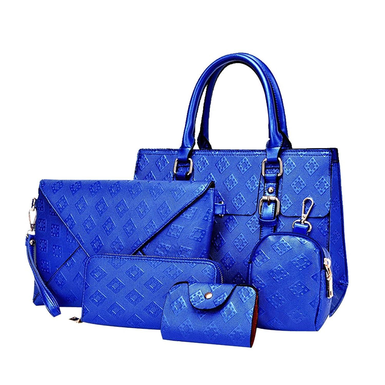Women Handbag,Women Bag, KINGH Vintage Argyle PU Leather Clutch Purse Wallet 5 PCS Set Bag 091