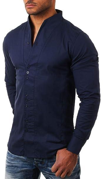 best wholesaler 81106 e3e3d Carisma - Camicia Casual - Collo MAO - Maniche Lunghe - Uomo