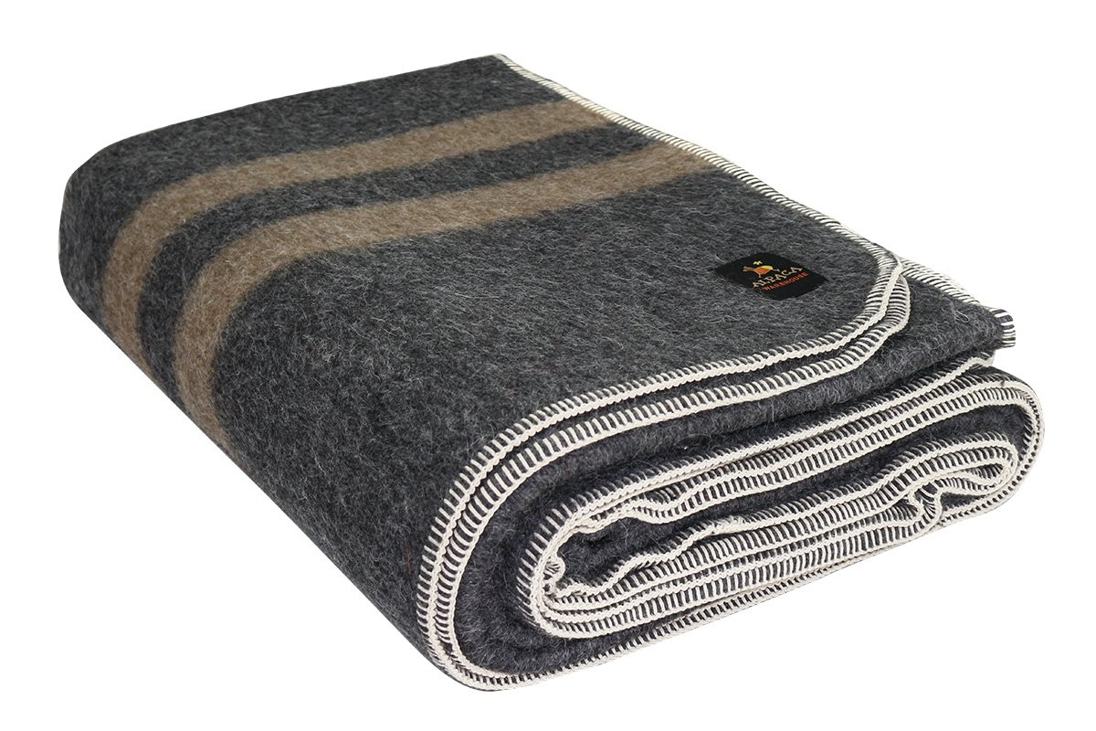 Thick Alpaca Wool Blanket (Queen, Charcoal Gray - Soft Brown Stripes) by Putuco