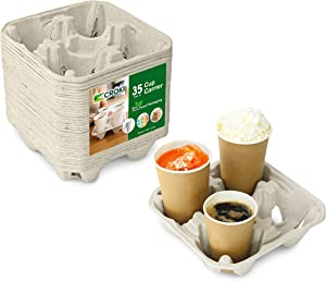 4 Cell Cup Carrier Disposable Drink Holder for Coffee Cups (35 Count) - Restaurant Supplies, Beverage Containers for Fast Food, Takeout, and Delivery, Biodegradable