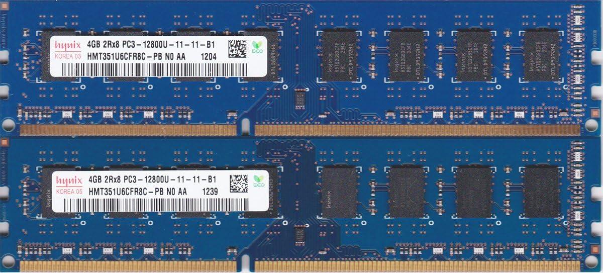 2x4GB (8GB Total) HYNIX HMT451U6AFR8C-PB 4GB PC3-12800U Desktop Memory