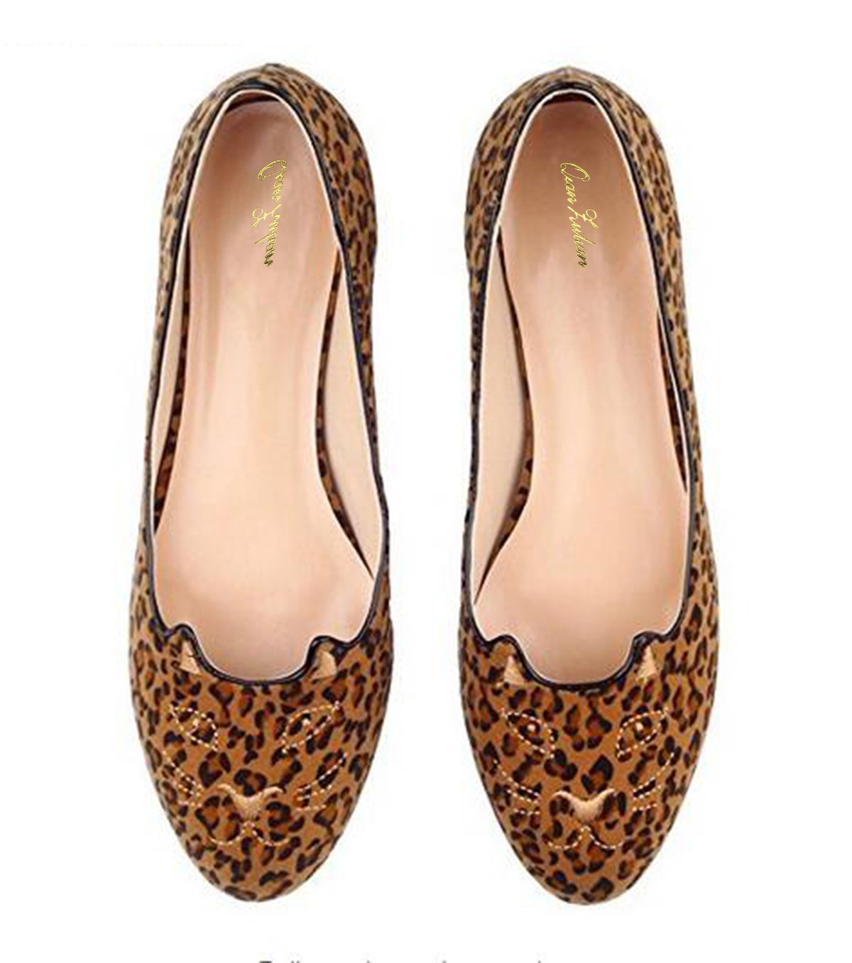 QianZuLian Womens Flats Cat Shape Pumps Round head Slip On Dress Shoes Comfort for Home Leisure On foot B0757XKG6X 7 B(M) US|Leopard