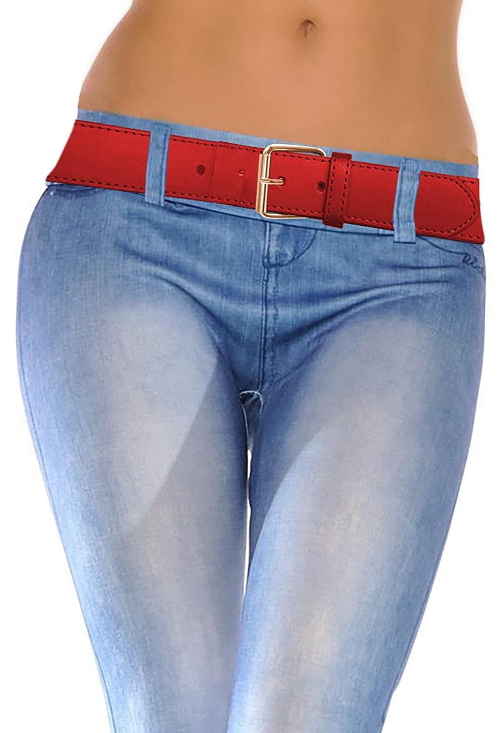 LUNA Top Quality Snap-On STITCH Bronze Buckle Thick Wide Leather Belt - Red - 4X Large
