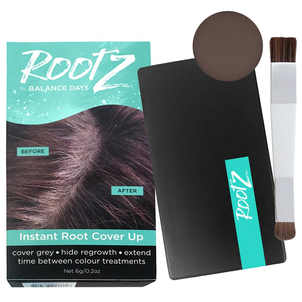RootZ Instant Root Cover Up Dark Brown Touch up for Grey Roots. Shape and Thicken Eyebrows Too. Unique Dual Action Brush - One Product - Two Uses