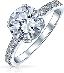 7deee3567b6 3.5CT Solitaire Cubic Zirconia Pave Band 14K Gold Plated 925 Sterling  Silver Round CZ Engagement