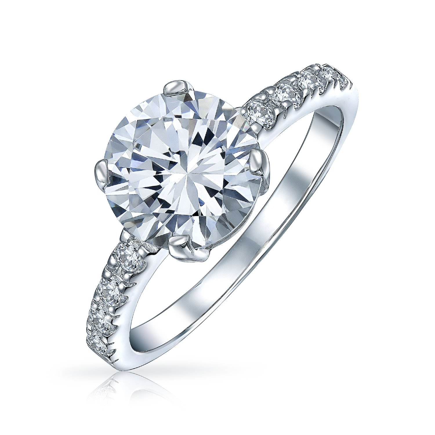 Bling Jewelry Round 3.5ct CZ Solitaire Engagement Ring with Side Stones Sterling Silver YC-YCR1293
