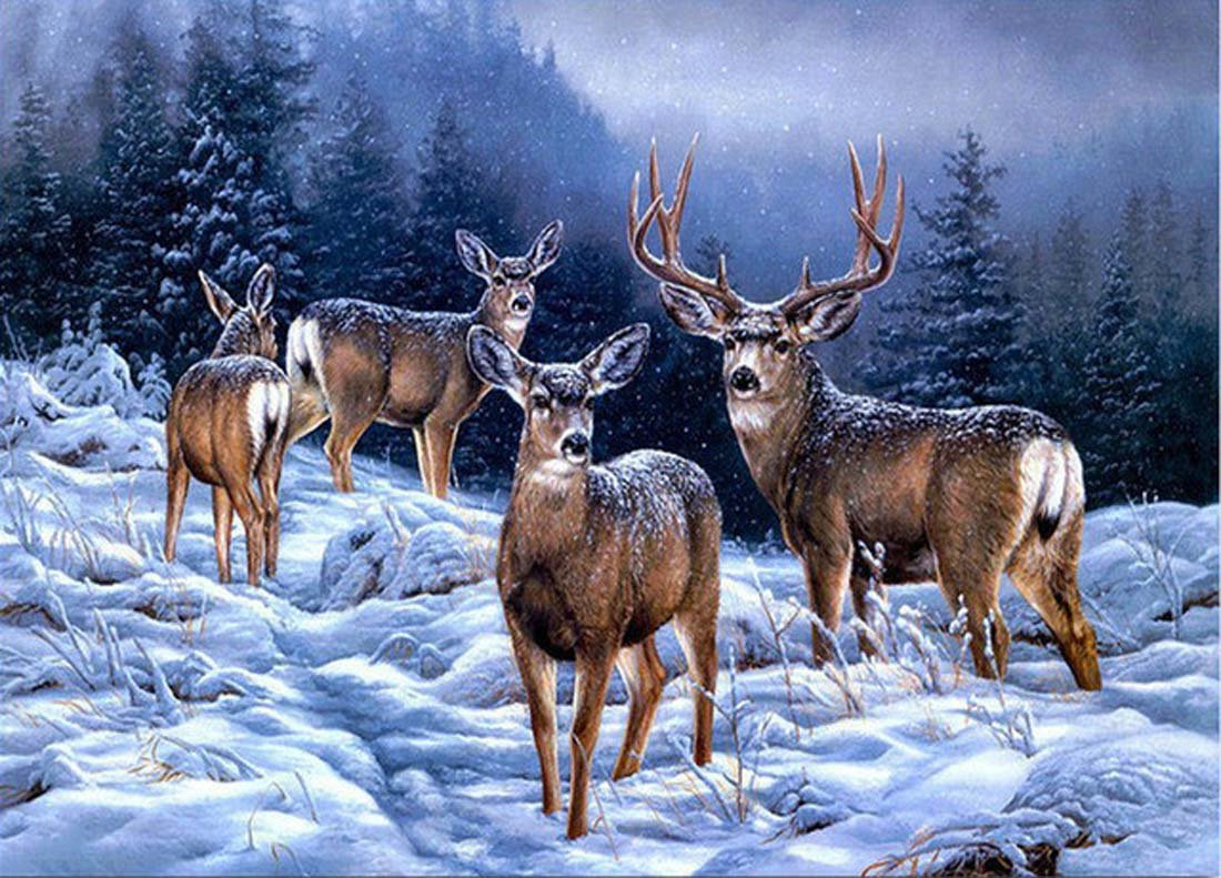 21secret 5D Diamond Diy Painting Full Drill Handmade Winter Snow Herd of Deer in Forest Cross Stitch Home Decor Embroidery Kit