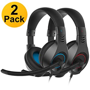 SENICC 2 Pack Gaming Headset with Microphone for PS4 Xbox One, Over Ear 3.5mm PC Headphone with Lightweight Design Noise Cancelling Volume Control for Laptop, Mac, iPad, Tablet