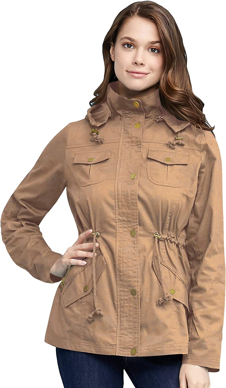 Come Together California Women's Zip Up Faux Fur Fleece/Safari Military Anorak Jacket Parka with Hood Drawstring