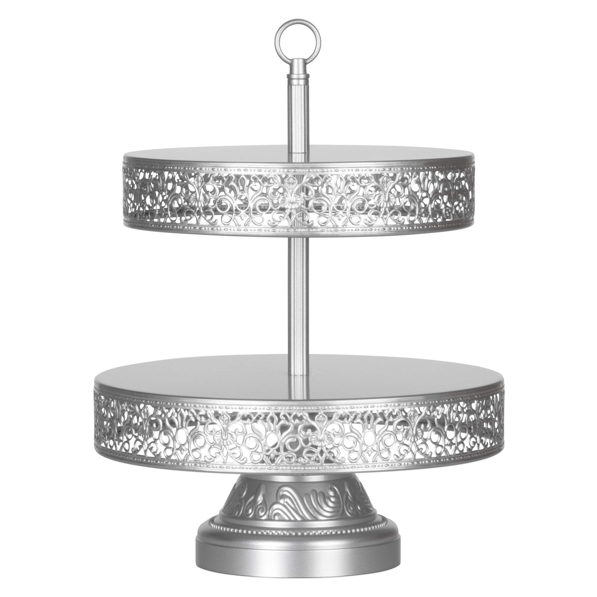 Amalfi Decor 2 Tier Dessert Cupcake Stand, Large Pastry Candy Cookie Tower Holder Plate for Wedding Event Birthday Party, Round Metal Pedestal Tray, Silver by Amalfi Décor