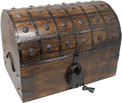 Coffre Boîte à Trésors Boîte en Bois Coffre de Pirate Boîte Piratentruhe 40 CM