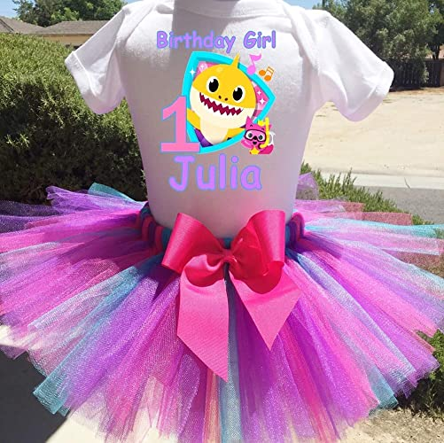 24cf465b56ff1 Amazon.com: Baby Shark Personalized Birthday Outfit Tutu Set: Handmade