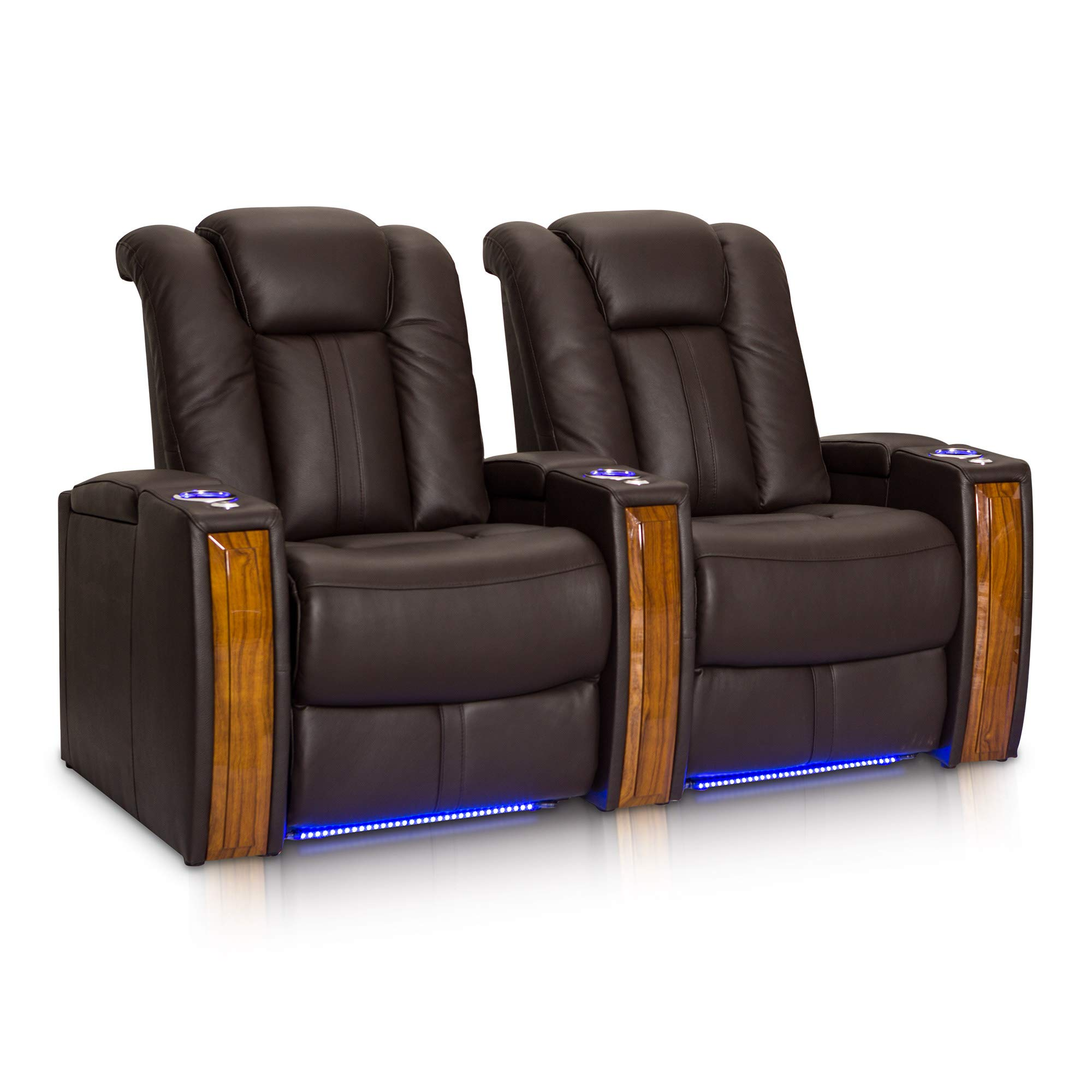 Seatcraft Monaco Leather Power Recline Home Theater Seating Chairs Powered by SoundShaker (Row of 2, Brown) by Seatcraft
