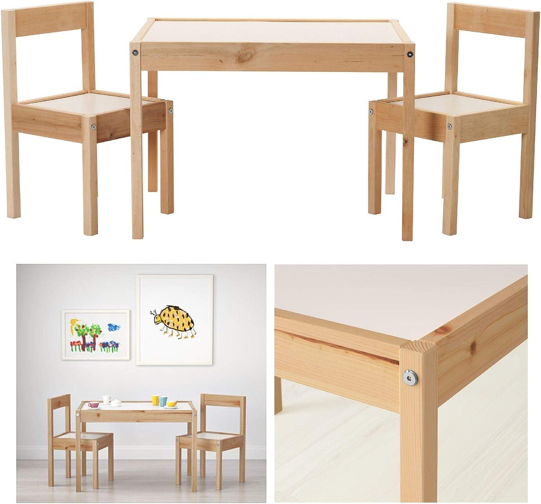 IKEA Mesa infantil LATT con 2 sillas, color blanco/pino, sus pequeñas dimensiones la hacen especialmente adecuada para habitaciones pequeñas o ...
