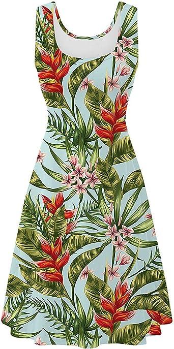 Womens Sleeveless Dress Casual Print Scoop Neck Sundress A Line Midi Dresses