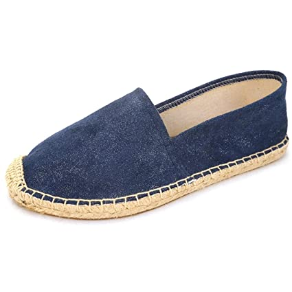 Espadrille Flats for Women, Slip on Espadrille Loafers Sneakers Shoes Navy Blue Tan Brown Rose Gold Silver Red Ladies CanvasFaux Suede Espadrilles