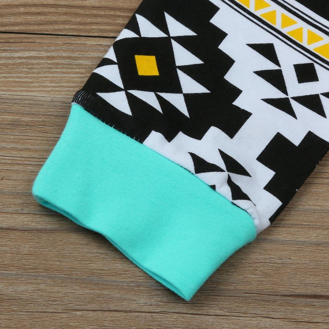 WARMSHOP Toddler Boy Hooded With Pocket Tops Geometric Pattern Contrast Color Pants