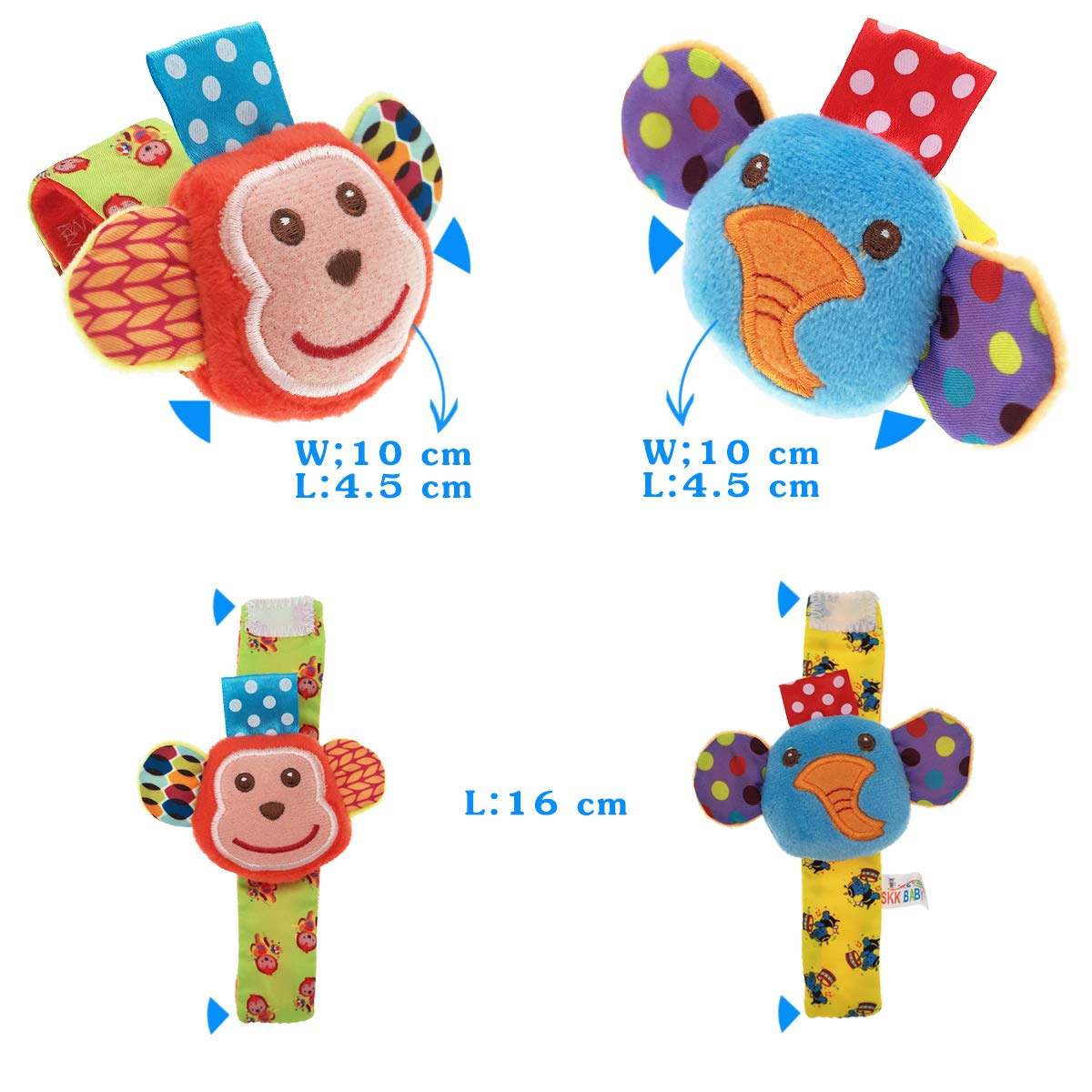 URUTOREO Baby Rattle Developmental Soft Animal Rattles Monkey and Elephant Socks Toys Infant Baby Toys Baby Wrist Rattle and Foot Rattles Finder Socks Set 4 Pcs