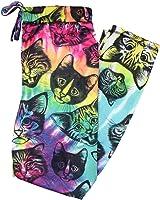 Kitty Cat Heads Tie Dye Knit Graphic Sleep Lounge Pants